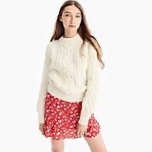 J crew floral flounce hem pull on mini skirt